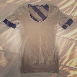 Burberry Plaid 3/4 Sleeve Small Knit Shirt